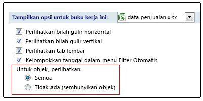 Opsi untuk memperlihatkan dan menyembunyikan objek dalam kotak dialog Opsi Excel