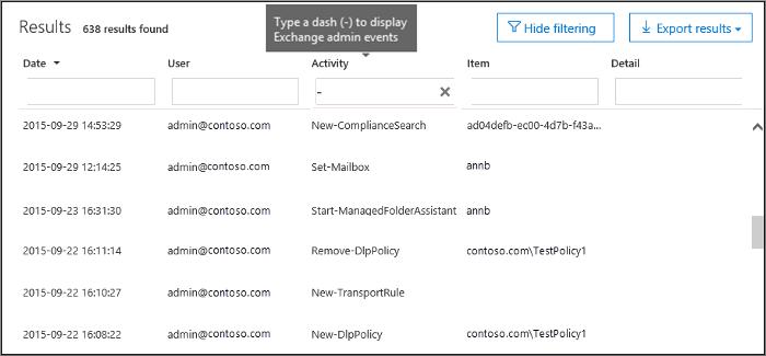 Ketik tanda hubung dalam kotak aktivitas untuk memfilter acara admin Exchange