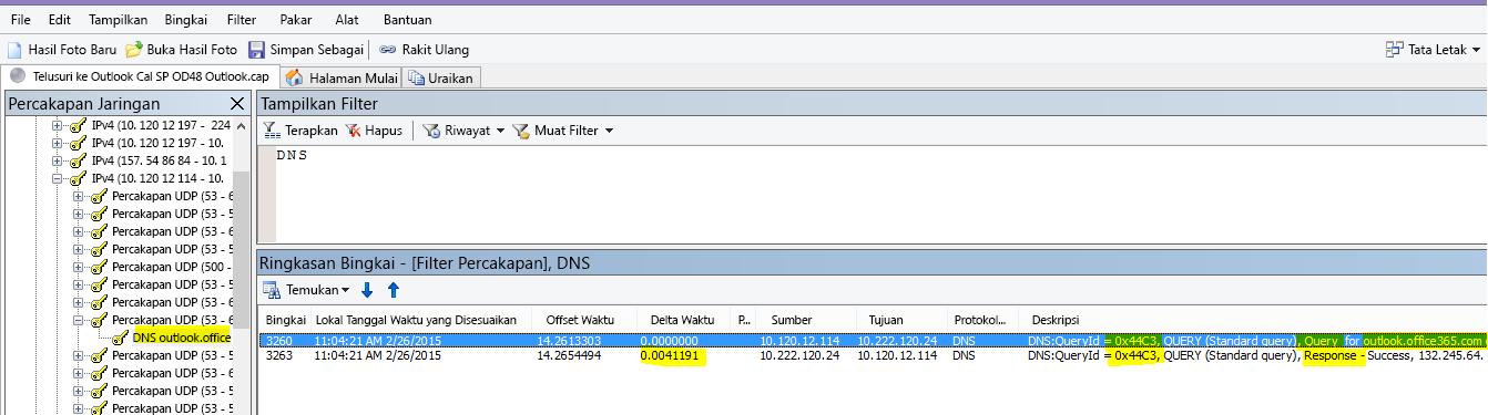 Jejak Netmon dari muatan Outlook Online difilter menurut DNS, dan menggunakan Temukan Percakapan lalu DNS untuk mempersempit hasilnya.