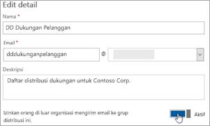 Cuplikan layar: Mengaktifkan pengalih untuk memperbolehkan anggota eksternal untuk mengirim ke dl