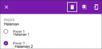 Menghapus halaman di menu konteks panjang di OneNote untuk Android