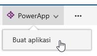 Mengklik PowerApps dan mengklik lalu membuat aplikasi.