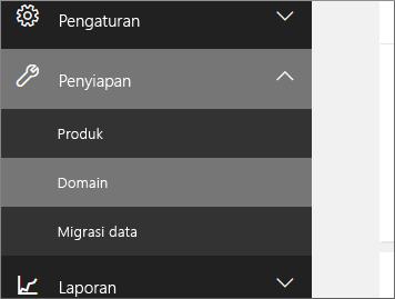 Klik Penyiapan, lalu Domain