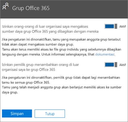 Izinkan orang-orang di luar organisasi saya untuk mengakses sumber daya dan grup Office 365