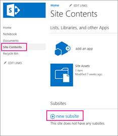 Untuk menambahkan subsitus baru, pilih Konten Situs, lalu pilih subsitus baru.