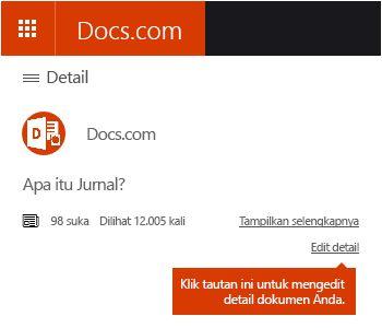 Opsi Edit Detail di Docs.com