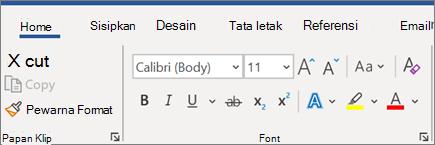 Menambahkan dan memformat teks di Word