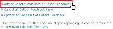 Tambahkan atau perbarui peninjau link Kumpulkan Umpan Balik di halaman Status Alur Kerja