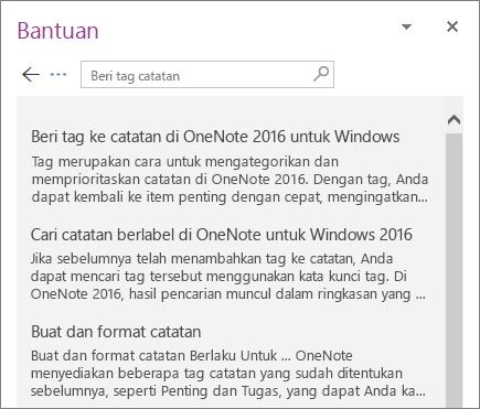 Cuplikan layar panel Bantuan OneNote yang menampilkan hasil pencarian untuk Tag Catatan.