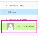 Outlook Web App dengan kalender kotak surat bersama dipilih