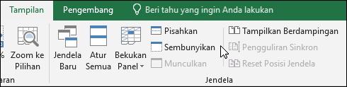 Menyembunyikan atau memperlihatkan buku kerja dari > Windows > Sembunyikan/Munculkan