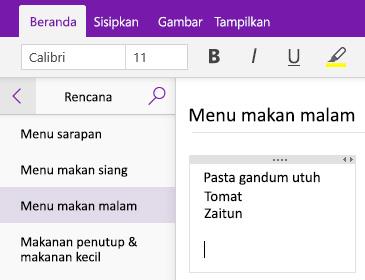 Cuplikan layar wadah catatan pada halaman di OneNote
