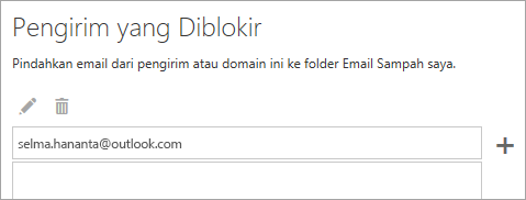 Cuplikan layar kotak pengirim yang diblokir