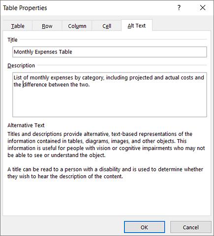 Tangkapan layar tab Teks Alternatif dari kotak dialog Properti Tabel menjelaskan tentang tabel yang dipilih.