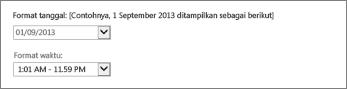 Pengaturan format tanggal dan waktu Outlook Web App