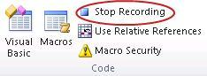 Perintah Hentikan Perekaman dalam grup Kode pada tab Pengembang