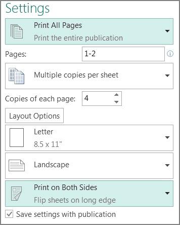 Pengaturan untuk mencetak kedua sisi kertas di Publisher.