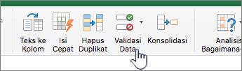 Menu data toolbar Excel dengan Validasi Data dipilih