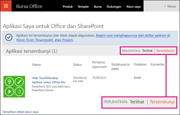 Link tersembunyi disorot pada halaman add-in Bursa Office