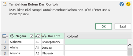 Panel gabungkan kolom dari contoh di Power Query