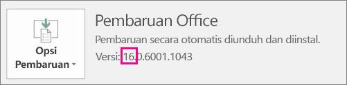 Menunjukkan cara mengetahui versi Office mana yang Anda jalankan.