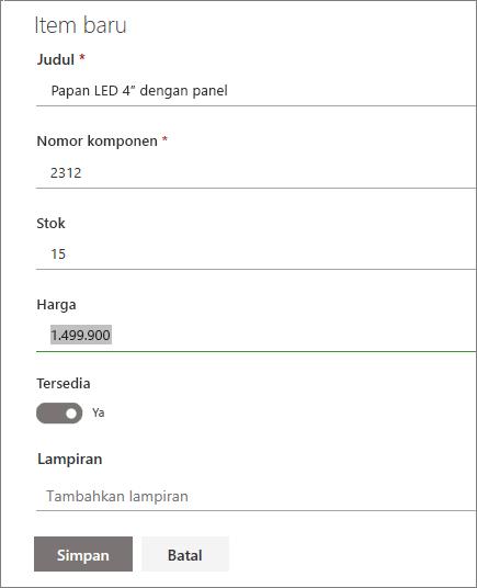Formulir item tunggal untuk daftar