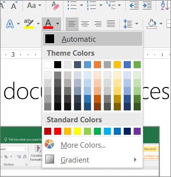 Cuplikan layar dari pengaturan warna Otomatis untuk font