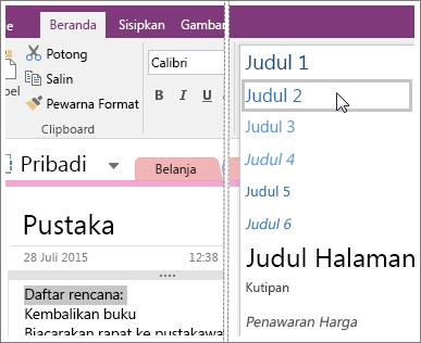 Cuplikan layar menu turun bawah Gaya di OneNote 2016.