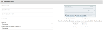 Cuplikan layar: Tautkan rekening bank Anda pemesanan dengan memasukkan angka nama, perutean dan rekening bank