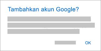 Ketuk OK untuk mengizinkan Outlook mengakses akun Anda.