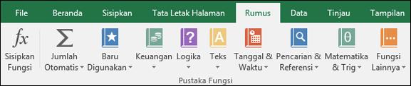 Tab Rumus Excel pada Pita