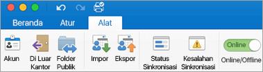 Cuplikan layar tab alat di pita.