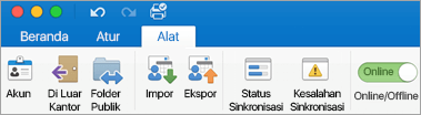 Cuplikan layar tab alat pada pita.