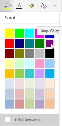Tombol sorot dengan menu menurun memperlihatkan warna ungu gelap dipilih