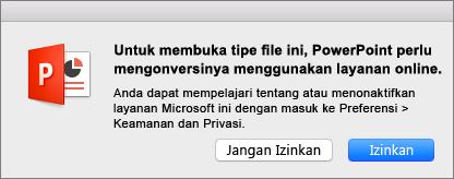 Menampilkan peringatan privasi ODF di PowerPoint 2016 untuk Mac