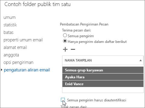 daftar pengirim yang diperbolehkan kustom untuk folder publik untuk membantu memperbaiki DSN 5.7.135