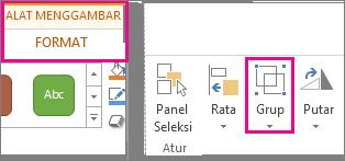 Tombol Grup berada pada tab Format Alat Menggambar