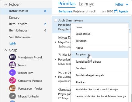 Cuplikan layar Kotak Masuk, memperlihatkan menu klik kanan pada pesan, dengan Arsip dipilih.
