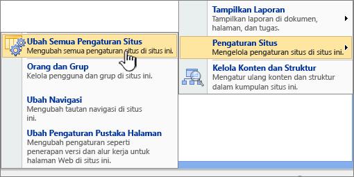 Mengubah semua opsi pengaturan situs di bawah pengaturan situs