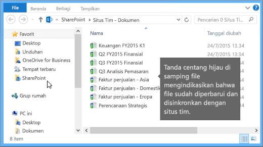 Gunakan File Explorer untuk menavigasi ke file yang disinkronkan di desktop Anda. Ada di SharePoint folder.