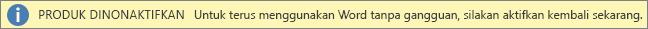 Cuplikan layar bilah peringatan Produk Dinonaktifkan