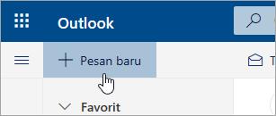 Cuplikan layar tombol Pesan baru