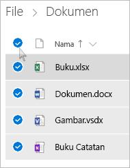Cuplikan layar memilih semua file dan folder di OneDrive