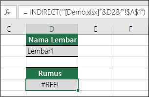 Contoh kesalahan #REF! akibat perujukan INDIRECT pada buku kerja yang ditutup.