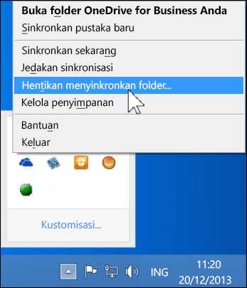 Hentikan sinkronisasi OneDrive for Business
