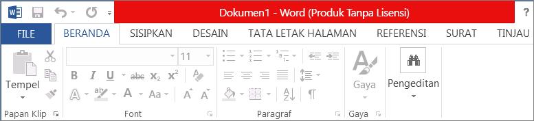 Memperlihatkan Produk Tanpa Lisensi di bilah judul berwarna merah, antarmuka yang dinonaktifkan, dan banner pesan