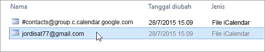 Pilih file dengan akhiran gmail.com untuk diimpor.