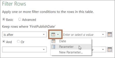 Memasukkan parameter dalam kotak dialog Filter