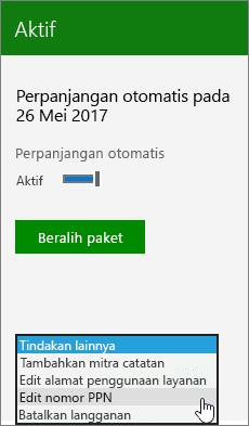 Bagian dari langganan kartu dengan menu tindakan lainnya terbuka dan opsi nomor PPN mengedit yang dipilih.