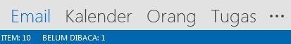 Tab Sosial berada di bagian bawah layar Outlook Anda.